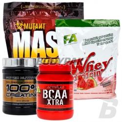 PVL Mutant Mass – 2,27kg + FA Whey Protein - 908g + SCITEC Creatine – 500g + ACTIVLAB BCAA Xtra - 500g
