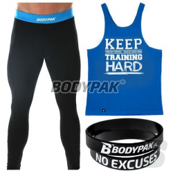 BODYPAK Tank Top NIEBIESKI [KEEP TRAINING HARD] + Męskie legginsy KEEP TRAINING HARD + Opaska na rękę NO EXCUSES [GRATIS]