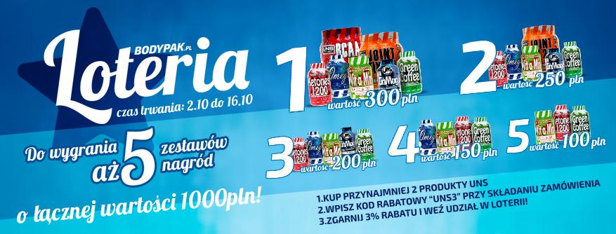 Loteria BODYPAK - kup 2 produkty UNS z rabatem 3% i zgarnij zestawy nagród!